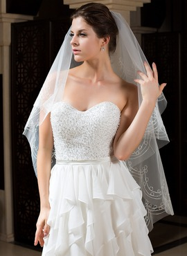 One-tier Fingertip Bridal Veils With Cut Edge (006035787)