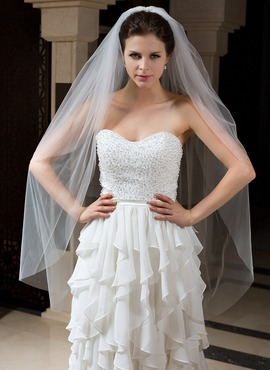 Two-tier Fingertip Bridal Veils With Cut Edge (006035734)