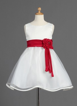 A-Line/Princess Scoop Neck Knee-Length Organza Satin Flower Girl Dress With Sash Beading Flower(s) (010014595)