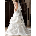 Two-tier Chapel Bridal Veils With Lace Applique Edge (006036670)