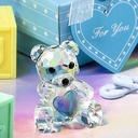 Teddy Bear Crystal Keepsake With Ribbons