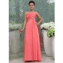 Empire One-Shoulder Floor-Length Chiffon Bridesmaid Dress With Ruffle Beading (007017307)