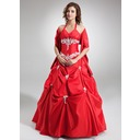 Ball-Gown V-neck Floor-Length Taffeta Quinceanera Dress With Ruffle Beading Appliques Lace Sequins (021004554)