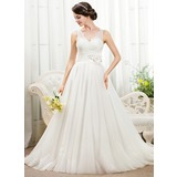 Ball-Gown V-neck Chapel Train Tulle Lace Wedding Dress With Beading Flower(s) Sequins