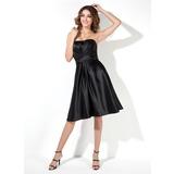 A-Line/Princess Strapless Knee-Length Satin Bridesmaid Dress With Ruffle Beading