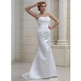 Mermaid Sweetheart Sweep Train Satin Wedding Dress With Ruffle Beadwork