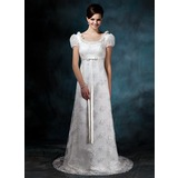 Sheath/Column Scoop Neck Sweep Train Satin Lace Wedding Dress With Bow(s)