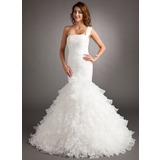 Mermaid One-Shoulder Court Train Organza Wedding Dress With Ruffle