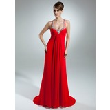Empire Halter Watteau Train Chiffon Mother of the Bride Dress With Ruffle Beading