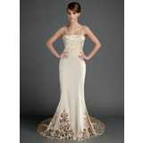 Trumpet/Mermaid Chapel Train Charmeuse Wedding Dress With Lace