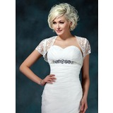 Short Sleeve Lace Wedding Jackets/Wraps With Beading (013022599)