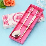 Flower Design Stainless Steel Spoon and Chopsticks Set