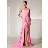 Sheath Halter Sweep Train Chiffon Prom Dress With Ruffle Beading Flower(s) (018014469)