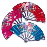 Floral Design Silk/Polypropylene Hand fan (Set of 4)