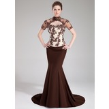 Trumpet/Mermaid High Neck Sweep Train Chiffon Tulle Charmeuse Evening Dress With Beading Appliques Lace Sequins