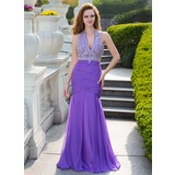 Mermaid Halter Floor-Length Chiffon Prom Dress With Ruffle Beading