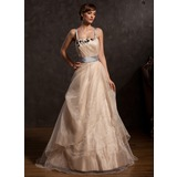 A-Line/Princess Floor-Length Taffeta Organza Prom Dress With Ruffle Lace Sash