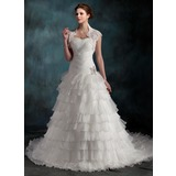 A-Line/Princess Sweetheart Cathedral Train Organza Wedding Dress With Beading Cascading Ruffles