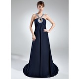 Empire V-neck Chapel Train Chiffon Mother of the Bride Dress With Ruffle Beading