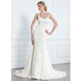 Mermaid V-neck Watteau Train Chiffon Lace Wedding Dress With Beadwork (002005314)