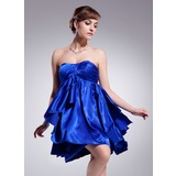 Empire Sweetheart Short/Mini Charmeuse Homecoming Dress With Ruffle (022020877)