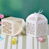 Heart Cut–outs Cuboid Favor Boxes With Ribbons (Set of 12)