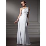 Sheath/Column One-Shoulder Sweep Train Chiffon Wedding Dress With Ruffle Beading