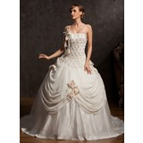 Ball-Gown Chapel Train Chiffon Satin Tulle Wedding Dress With Lace Beadwork Flower(s)