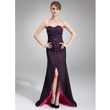 Sheath Sweetheart Asymmetrical Chiffon Evening Dress With Beading Sequins