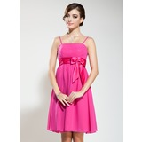Empire Knee-Length Chiffon Charmeuse Bridesmaid Dress With Beading Bow(s)