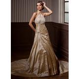 A-Line/Princess Halter Chapel Train Taffeta Organza Wedding Dress With Ruffle Beading