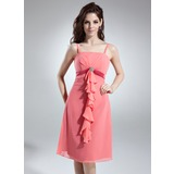 Empire Knee-Length Chiffon Satin Bridesmaid Dress With Beading Cascading Ruffles