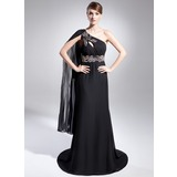 Empire One-Shoulder Sweep Train Chiffon Mother of the Bride Dress With Beading Pleated