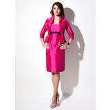 Sheath/Column Strapless Knee-Length Taffeta Bridesmaid Dress With Lace Sash