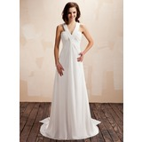 Empire V-neck Watteau Train Chiffon Wedding Dress With Ruffle