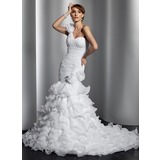 Mermaid One-Shoulder Court Train Organza Wedding Dress With Ruffle Flower(s) (002014797)