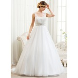 Ball-Gown V-neck Court Train Satin Tulle Wedding Dress With Beading Appliques Lace Sequins