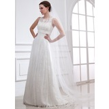 A-Line/Princess Scoop Neck Sweep Train Satin Tulle Wedding Dress With Lace Beadwork