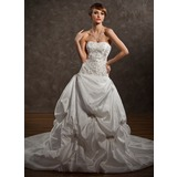 Ball-Gown Sweetheart Chapel Train Taffeta Wedding Dress With Embroidered Ruffle Beading