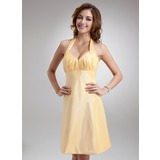A-Line/Princess Halter Knee-Length Taffeta Bridesmaid Dress With Ruffle (007004306)