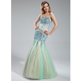 Mermaid Sweetheart Floor-Length Satin Tulle Prom Dress With Beading