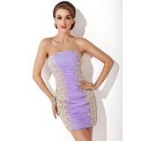 Sheath Strapless Short/Mini Organza Homecoming Dress With Ruffle Lace