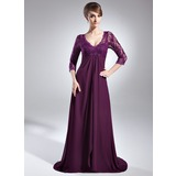 Empire V-neck Sweep Train Chiffon Lace Mother of the Bride Dress With Beading Sequins