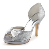 Women's Satin Sparkling Glitter Cone Heel Peep Toe Platform Sandals With Bowknot Sparkling Glitter