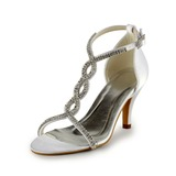 Women's Leatherette Stiletto Heel Sandals With Buckle Rhinestone (047005860)
