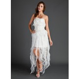 A-Line/Princess Strapless Asymmetrical Organza Holiday Dress With Lace Beading