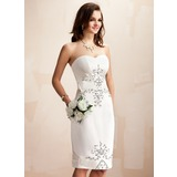 Sheath/Column Sweetheart Knee-Length Satin Wedding Dress With Beadwork Sequins (002012673)
