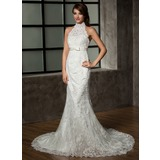 Mermaid Sheath/Column Halter Chapel Train Satin Tulle Wedding Dress With Lace (002011461)