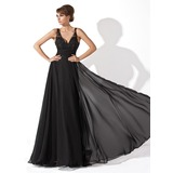 A-Line/Princess V-neck Floor-Length Chiffon Tulle Prom Dress With Ruffle Lace Beading (018005092)
