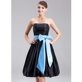Empire Strapless Knee-Length Taffeta Bridesmaid Dress With Sash